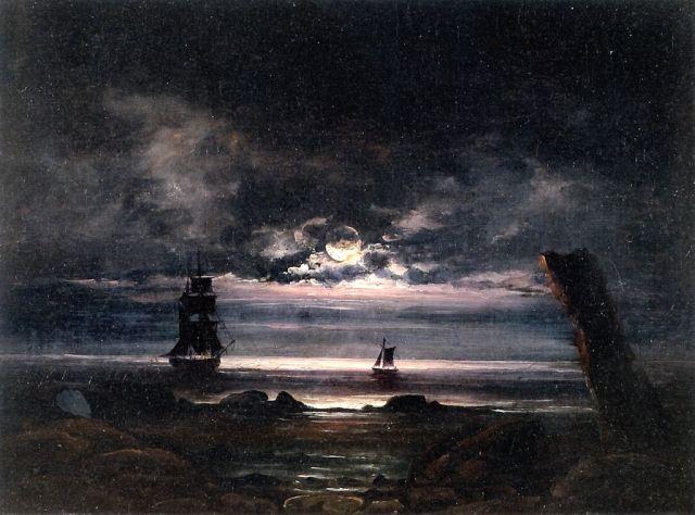 Moonlight on the Coast at Steigen by Peder Balke (1842)
