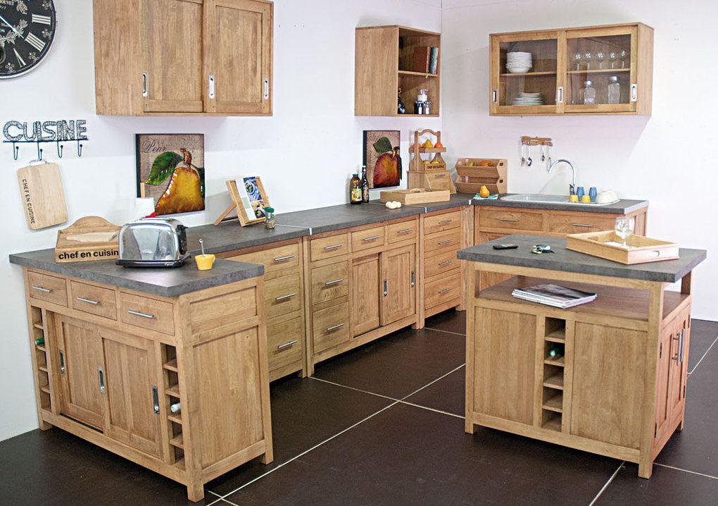cuisine en bois massif meuble cuisine