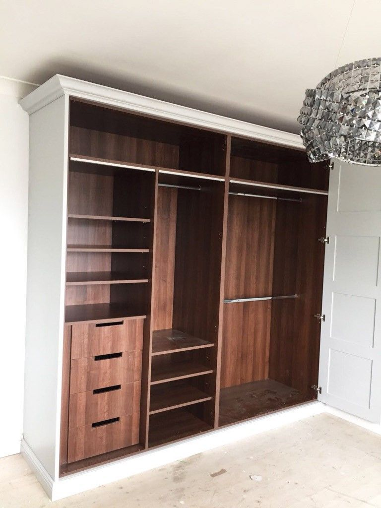 White And Dark Wood Wardrobe By Stag