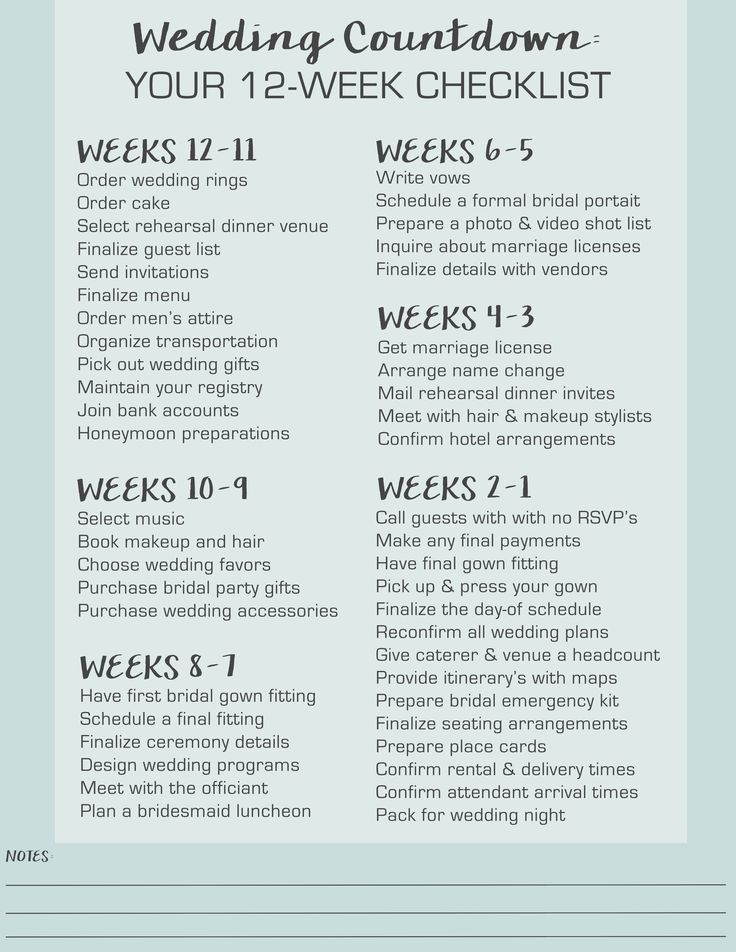 Wedding Countdown: Your 12 Week Checklist | Event Planning