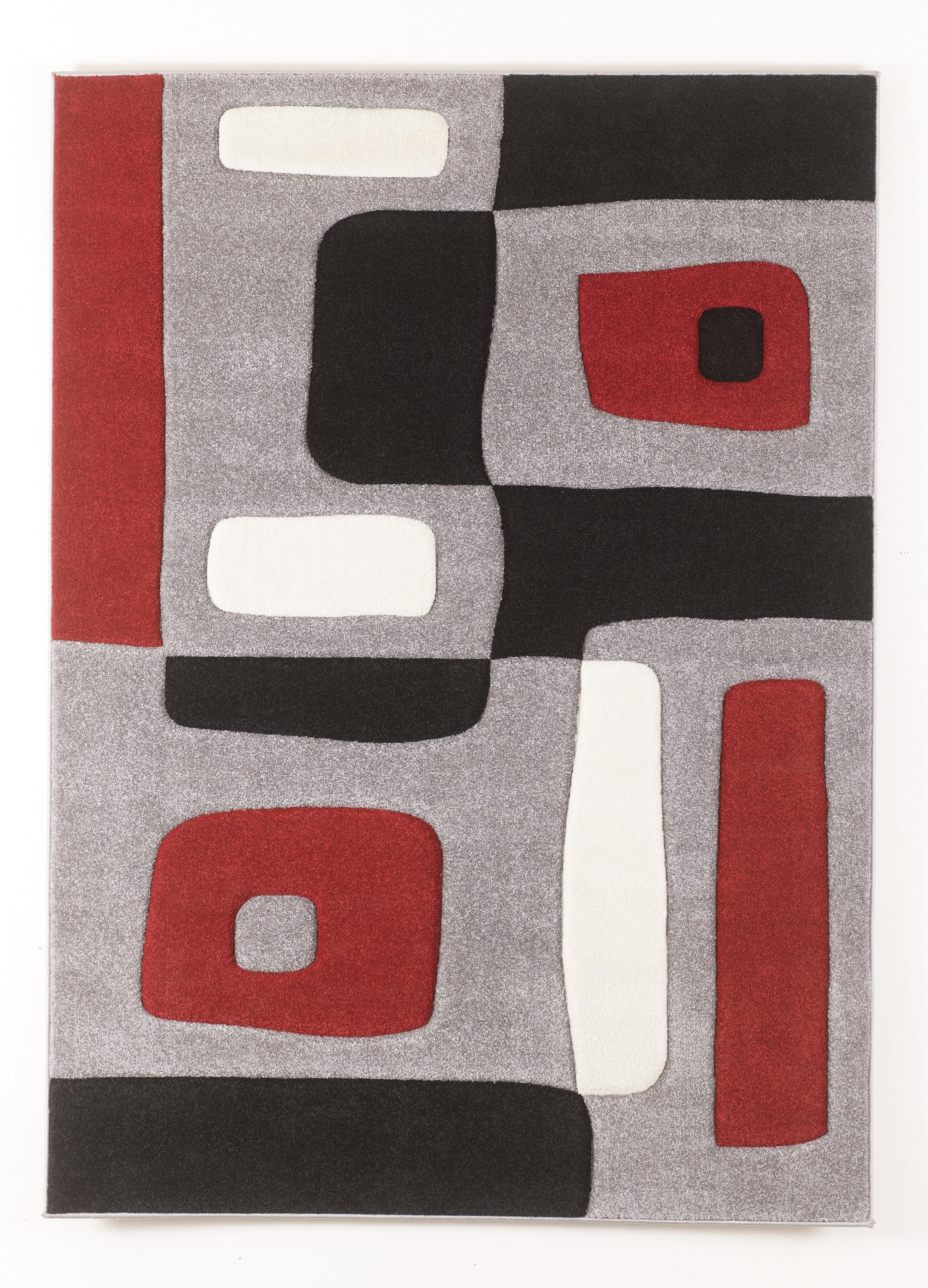 Contemporary area rugs geo red medium rug by signature for Area carpets and rugs