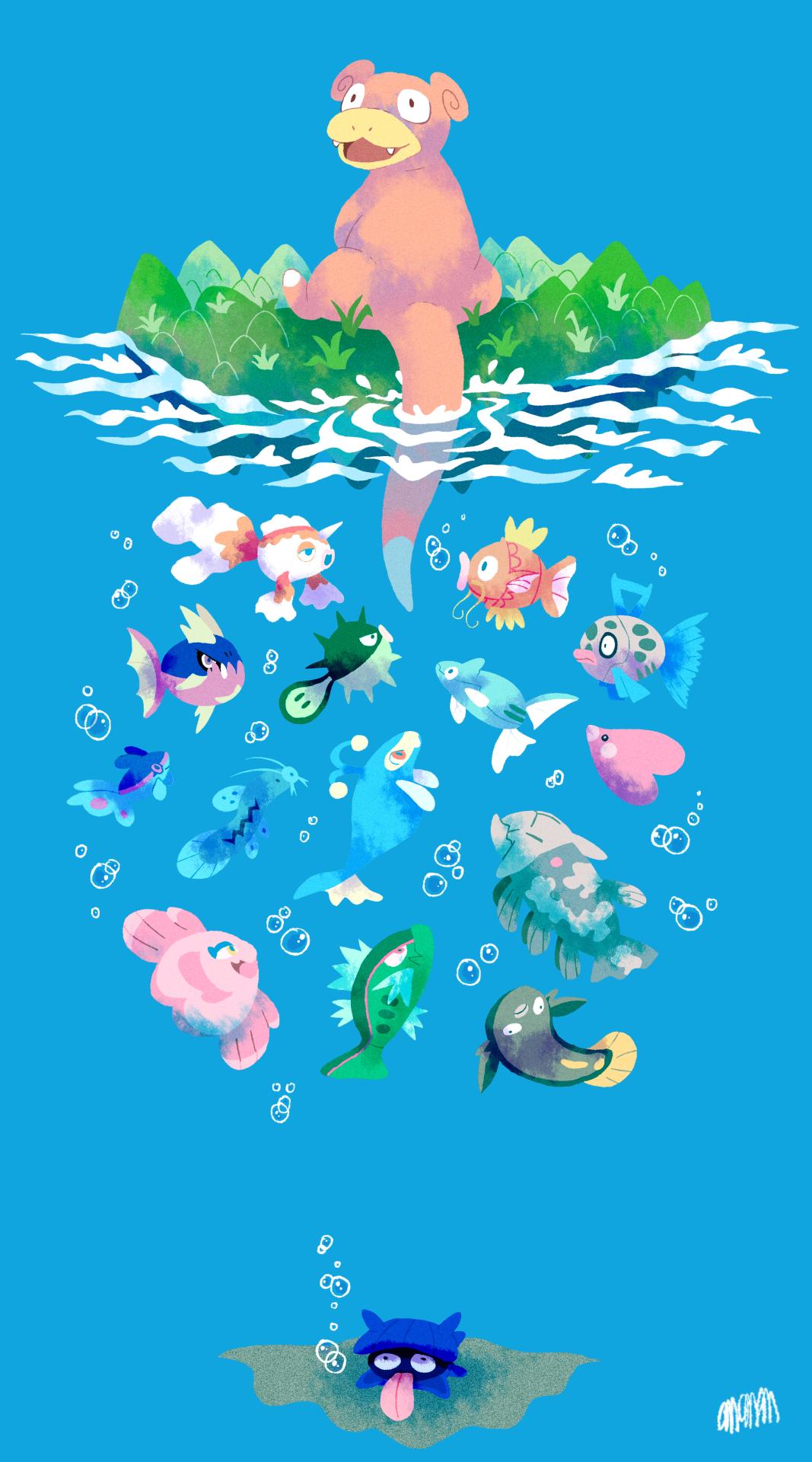Fishing Slowpoke Pokemon Pokemon Backgrounds Cute Pokemon Wallpaper