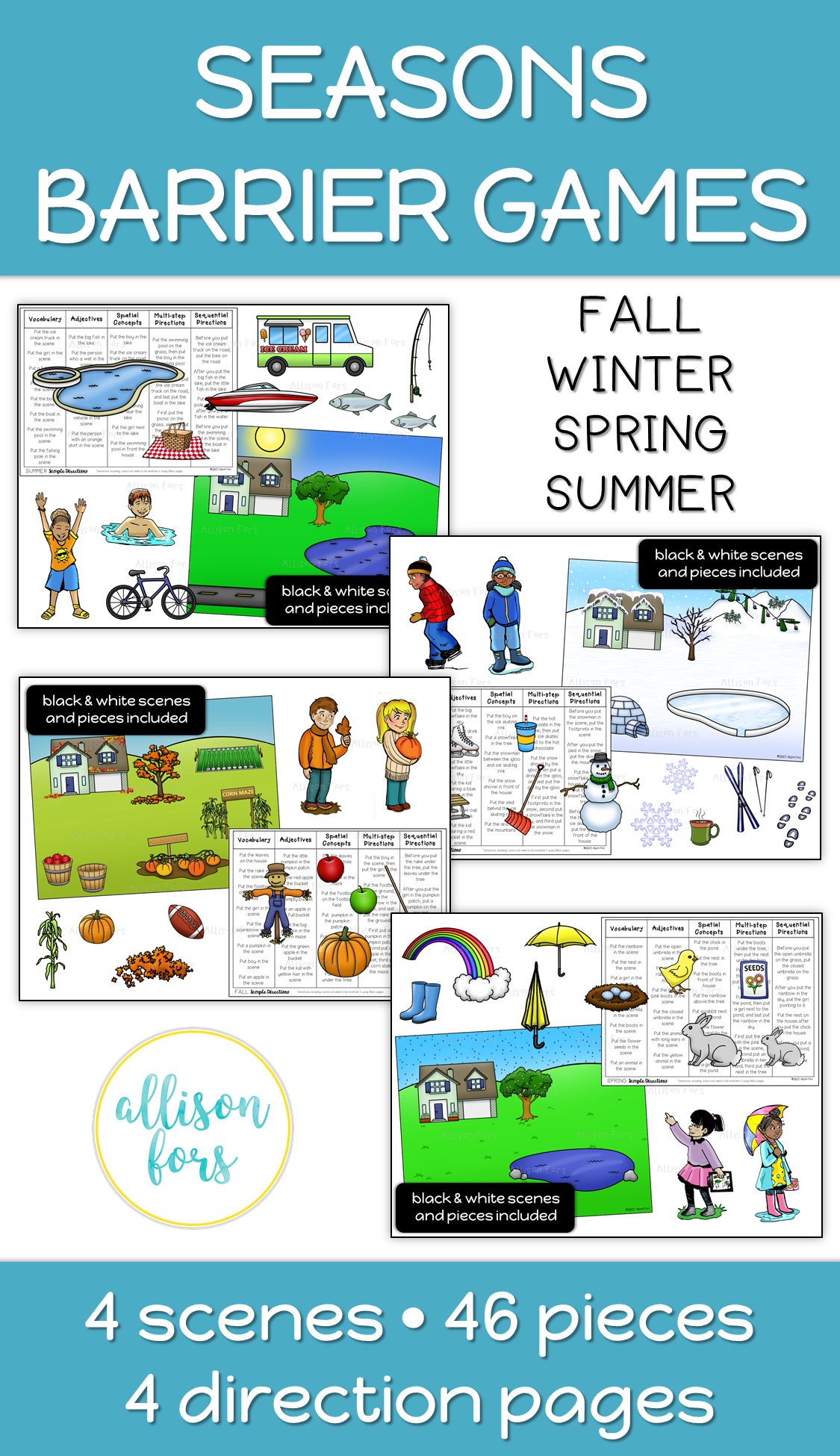 Seasons Themed Barrier Games Speech Therapy
