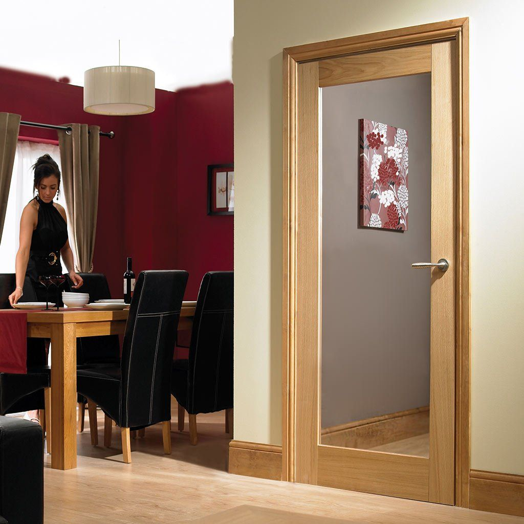 full pane white oak door with glass options - Glass Interior Doors