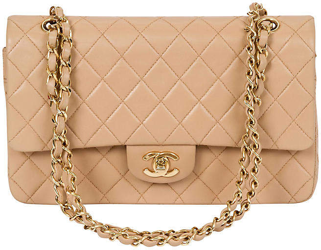 ef518c95e8fe Chanel Beige Lambskin Double Flap Bag - Vintage Lux | Pocketbook ...
