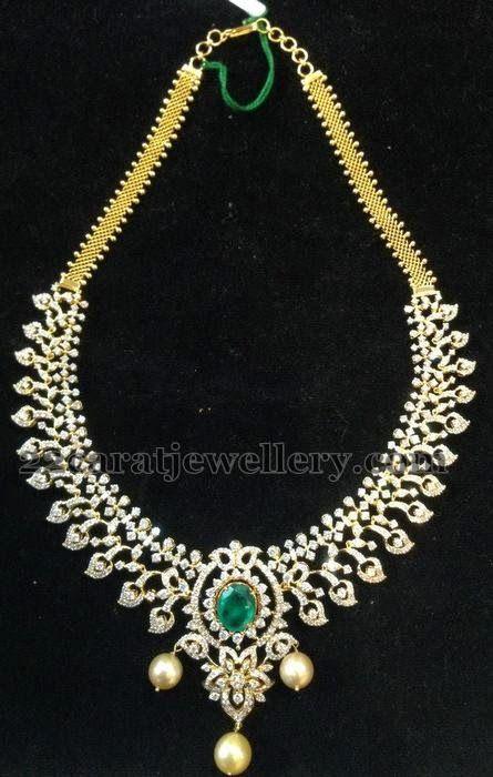e34e3df27 Jewellery Designs  Diamond Necklace worth 9 Lakhs