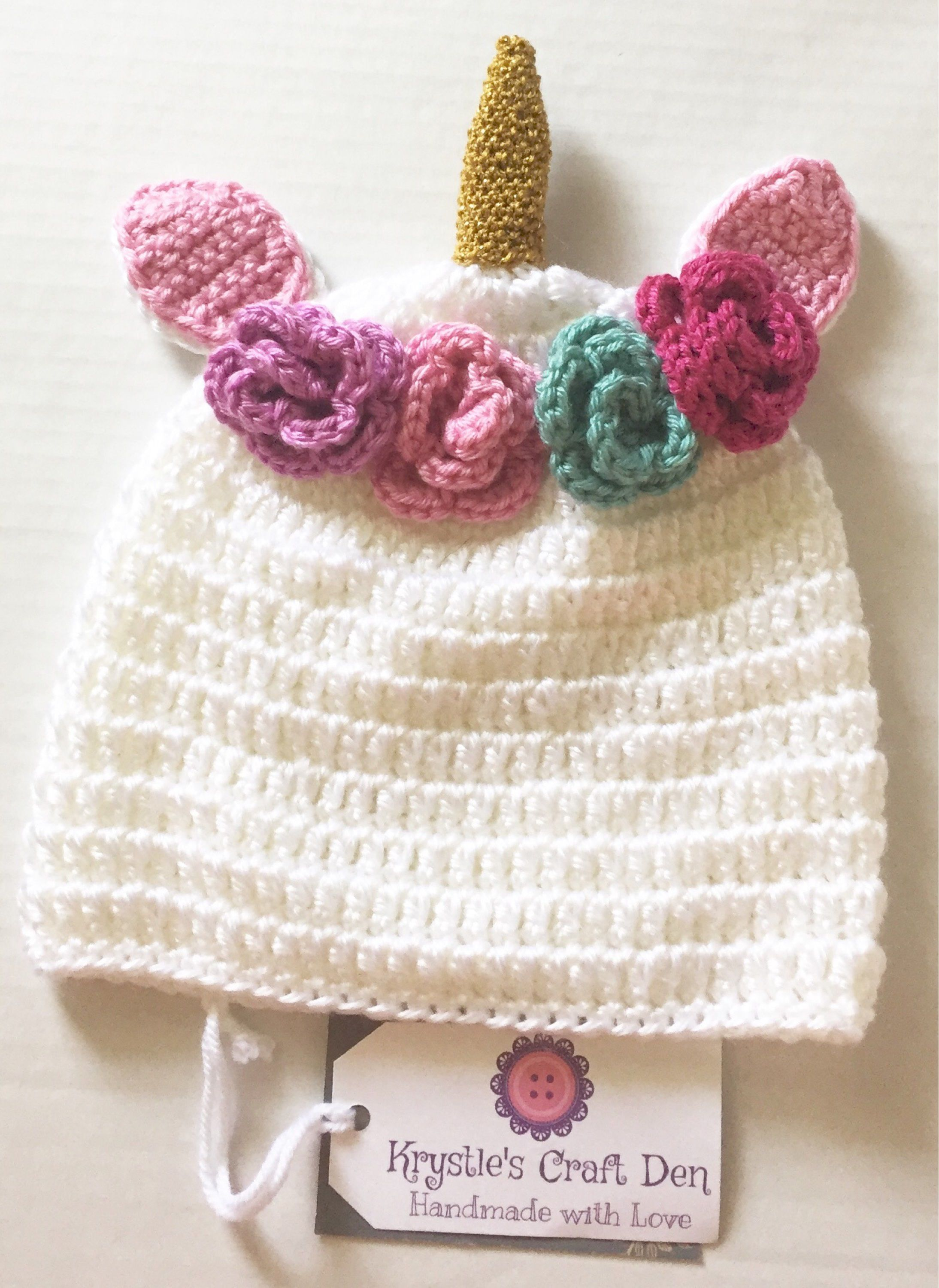 Crochet Unicorn Hat - Made to Order - 9-12 months Unicorn Hat ...