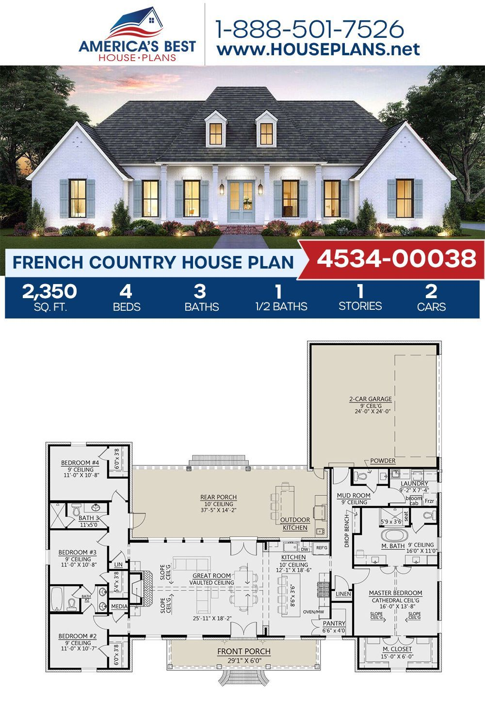 House Plan 4534 00038 French Country Plan 2 350 Square Feet 4 Bedrooms 3 5 Bathrooms In 2020 Affordable House Plans French Country House Plans House Plans Farmhouse