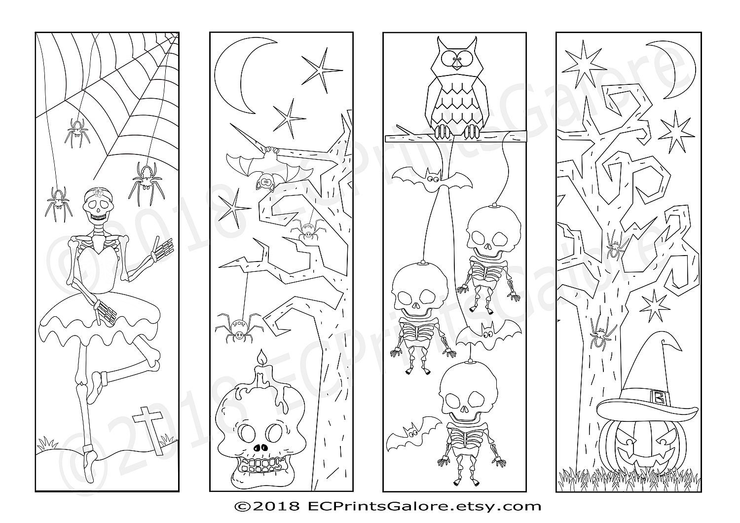 4 Halloween Bookmarks With Skeletons A Pumpkin Spiders Bats And An Owl To Download Print Out An Coloring Bookmarks Halloween Coloring Spider Coloring Page
