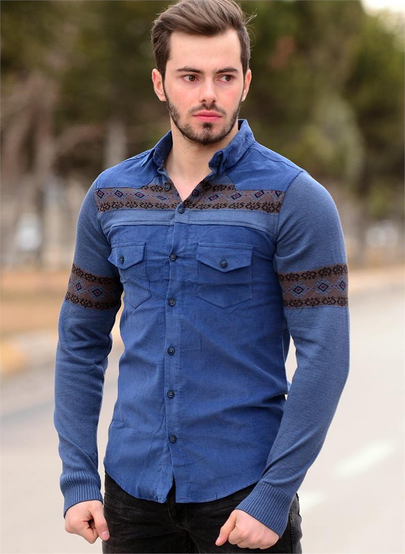 89c6fda6f2f69 Erkek Gömlek Kadife Triko Kol Mavi 524 | Modelleri ve Uygun Fiyat  Avantajıyla | Modabenle