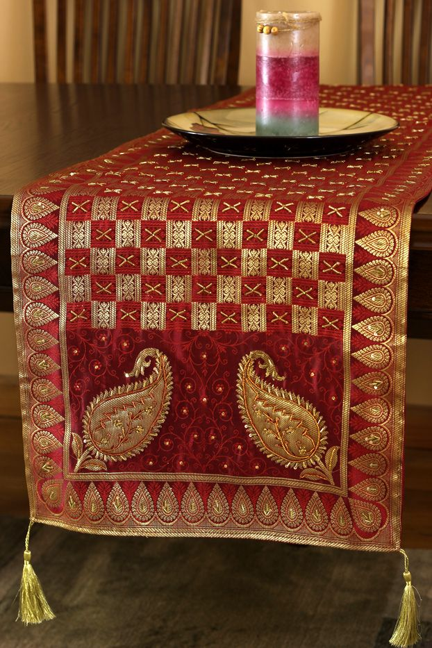 Extravagant U0026 Artistic Indian #table Runner Design. Features A Very Eye  Catching Embroidery Pattern.