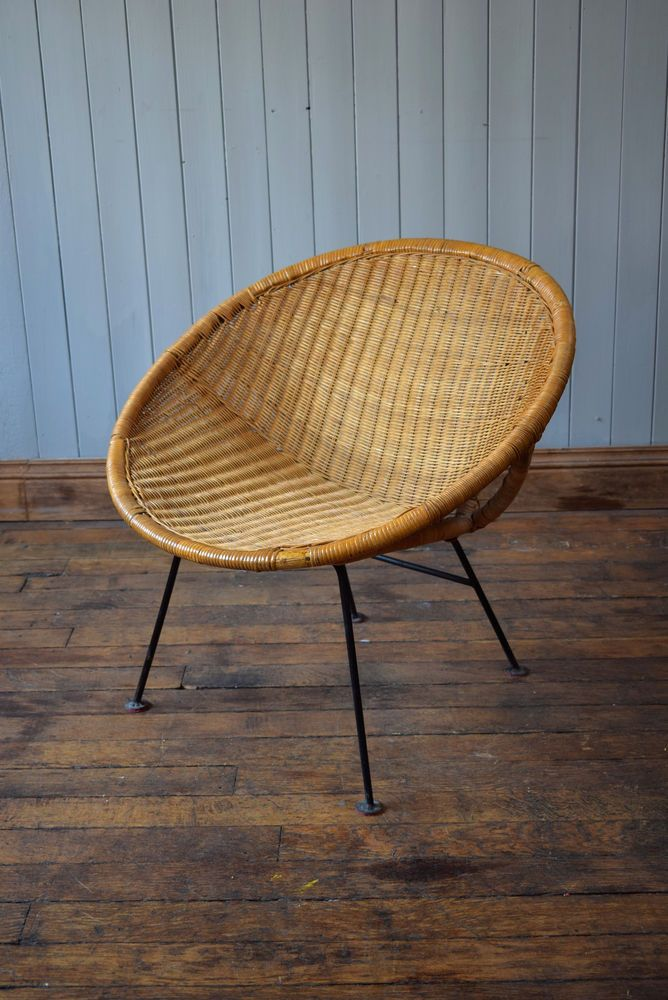 Vintage Satellite Round Circle Bamboo Cane Wicker Rattan Tub Chair