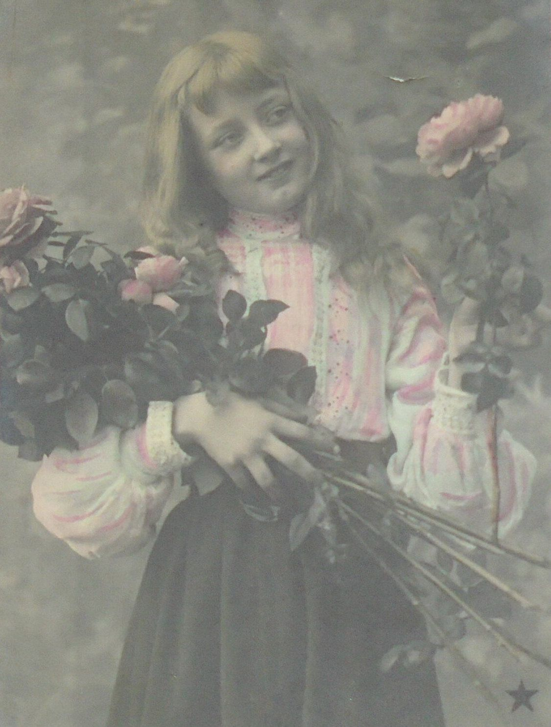 Antique French Postcard - Girl in Pink with Roses by ChicEtChoc on Etsy