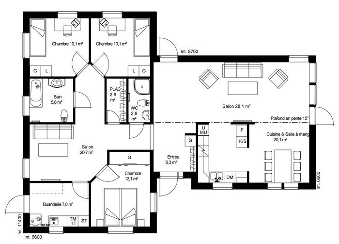 plan RDC Maison ossature bois suédoise basse consommation provenant - plan maison en l 100m2