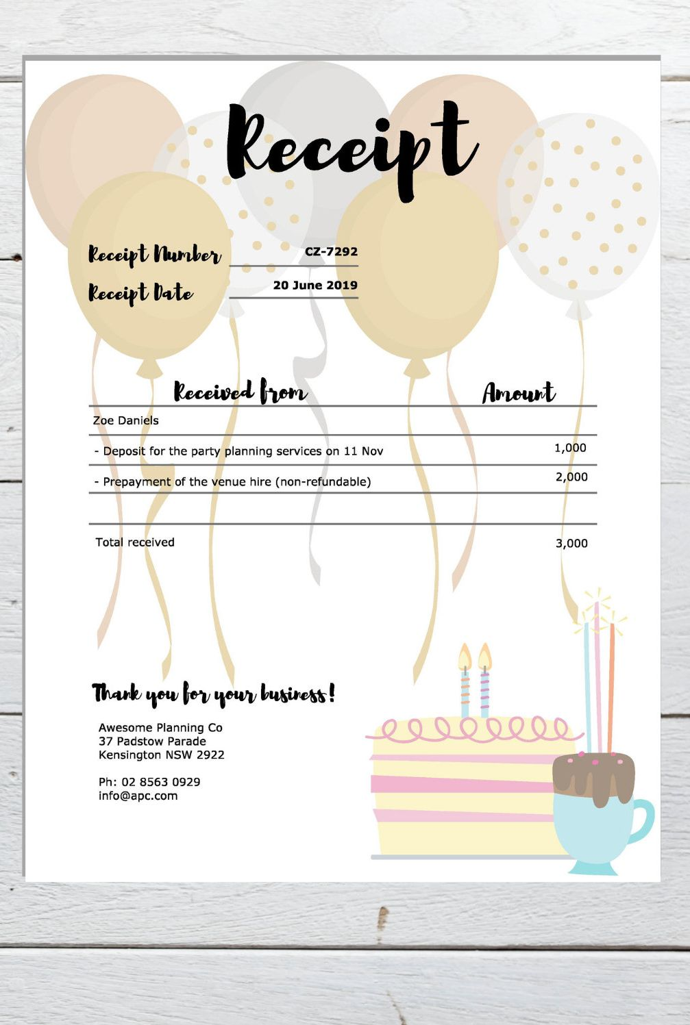 Event Planning Invoice Template And Receipt Template Bundle Etsy Receipt Template Kids Party Planning Party Planning