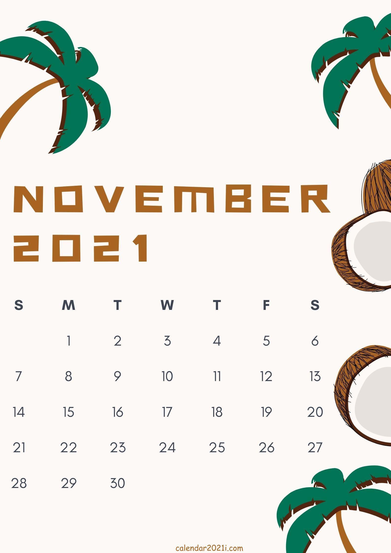 Cute November 2021 calendar design theme free download in 2020