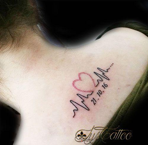 tatouage haut du dos femme,tatou battement de cœur