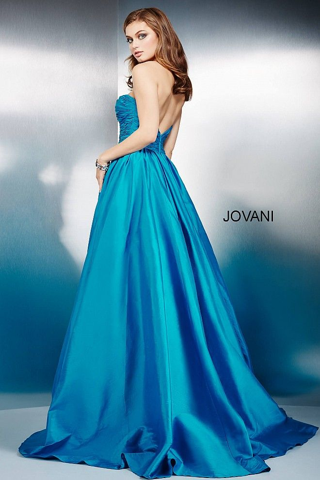 Teal Strapless Sweetheart Neck Prom Dress 36163