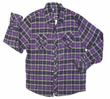 New Mens G Flannel Shirt Long Sleeve Plaid Purple 3X