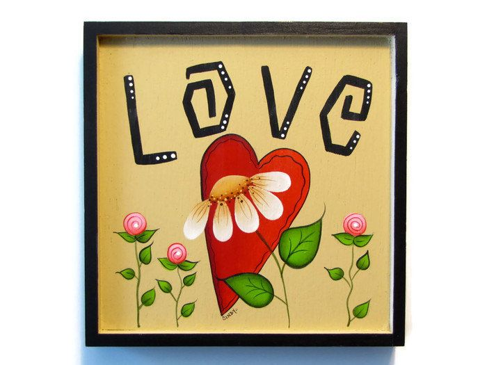 Love Heart Daisy Framed Plaque Handpainted Wood Hand Painted