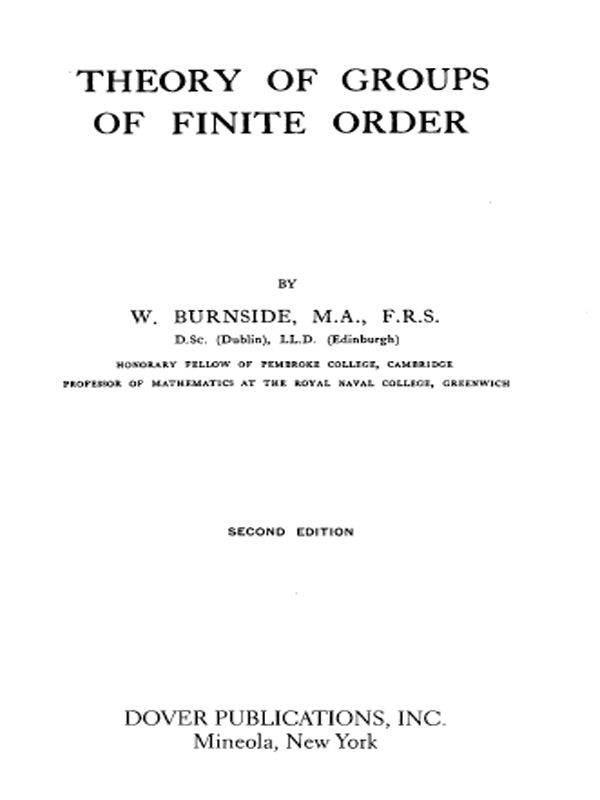 Theory Of Groups Of Finite Order Theories Theorems Order