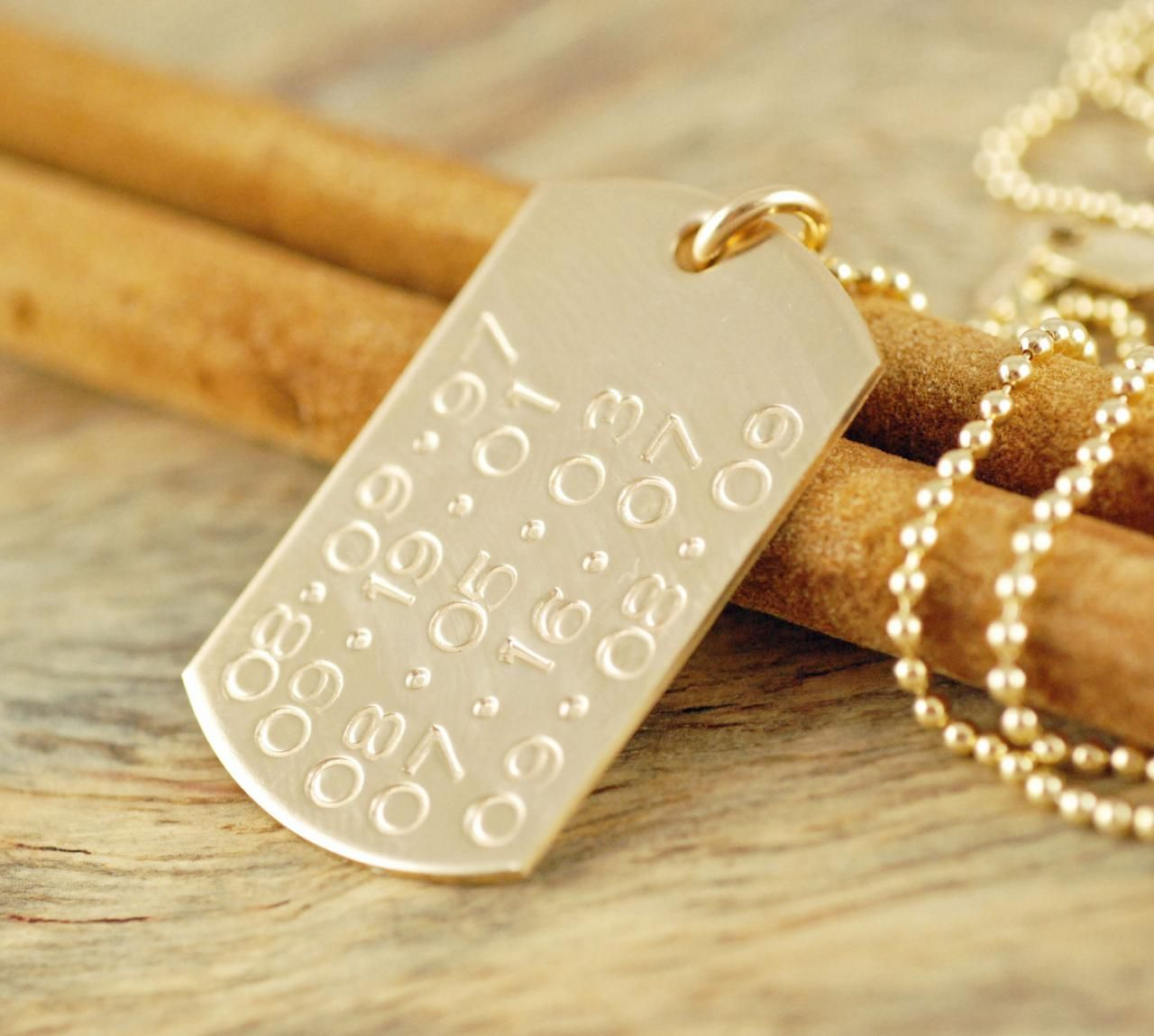 Personalized 14k Gold Filled Dog Tag Necklace Hand