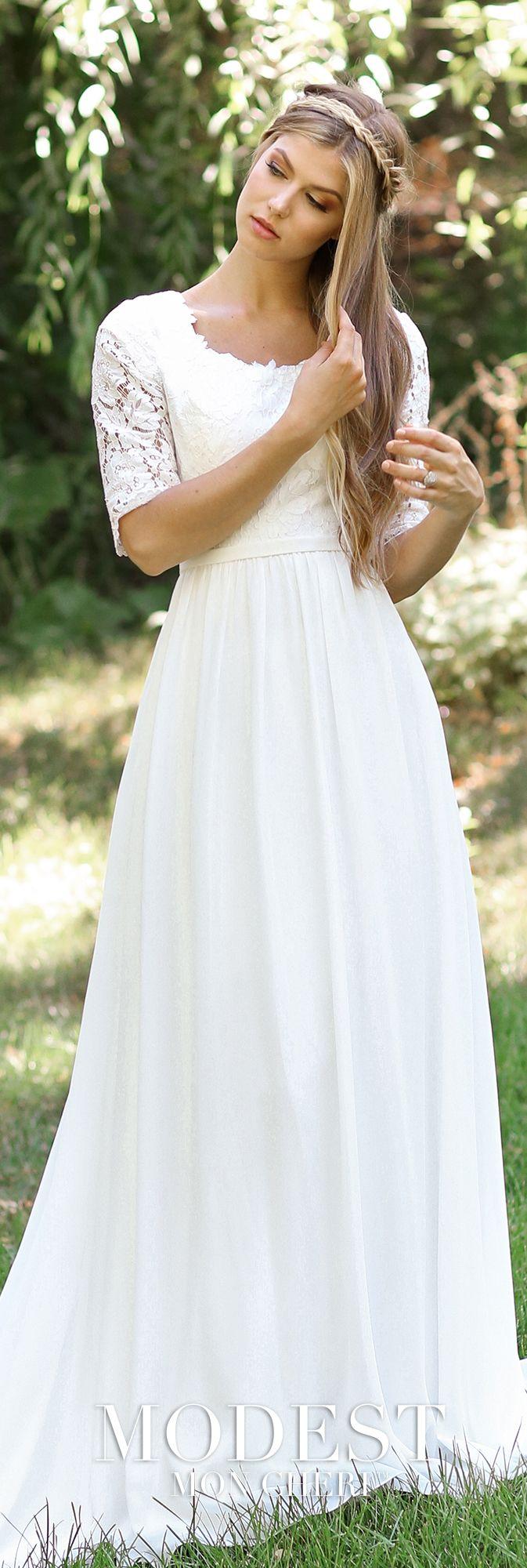 TR11834   Vestidos de boda modestos, Novios y De novia