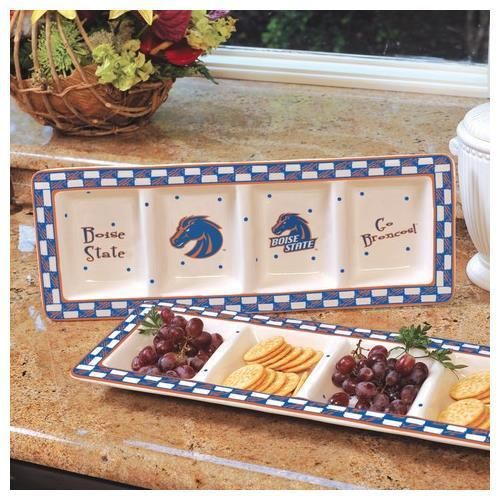 Boise State Broncos Ceramic Relish Tray Serving Dish