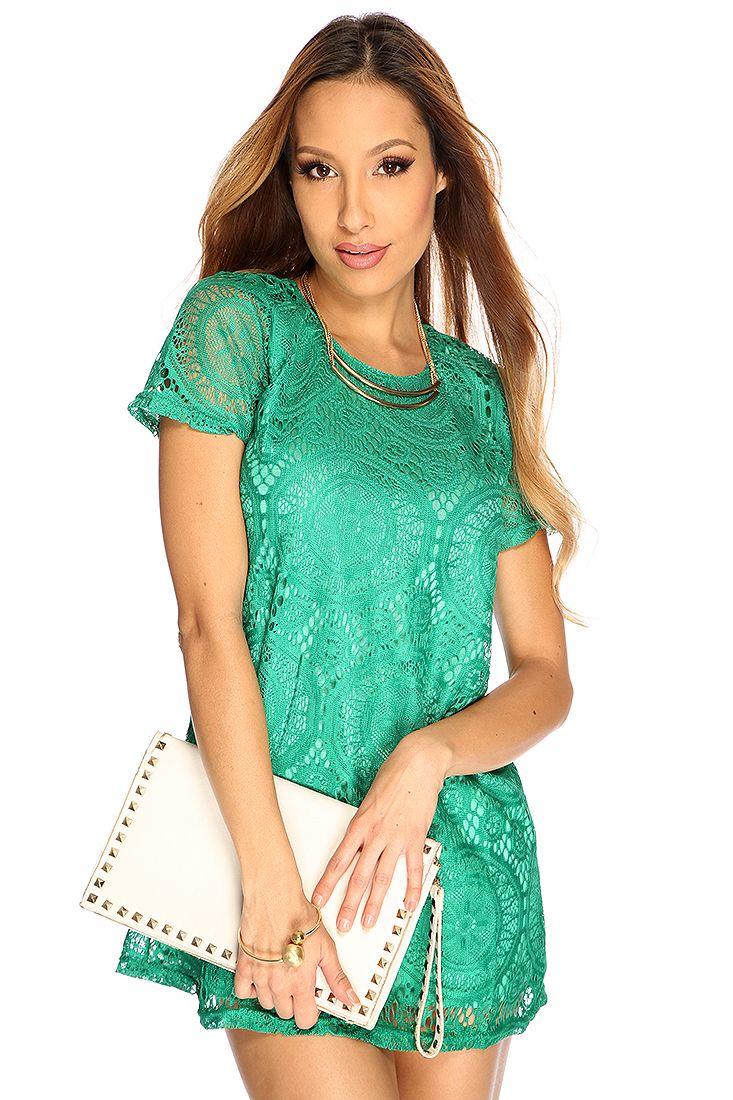 Green floral crochet overlay cute short dress womens dresses