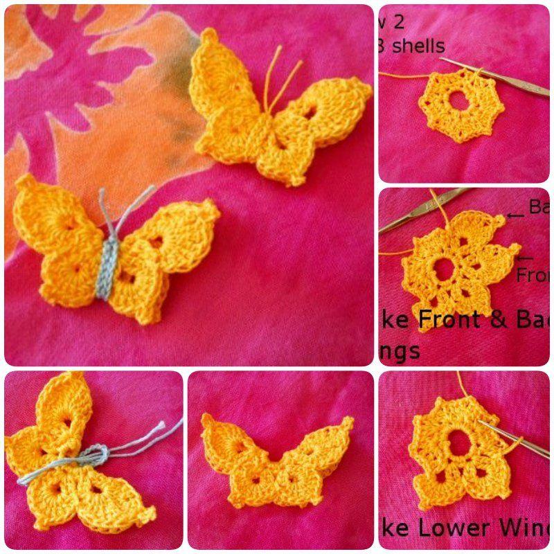 Crochet Butterflies Pattern Lots Of Ideas | Blondas, Ponchos y Nena