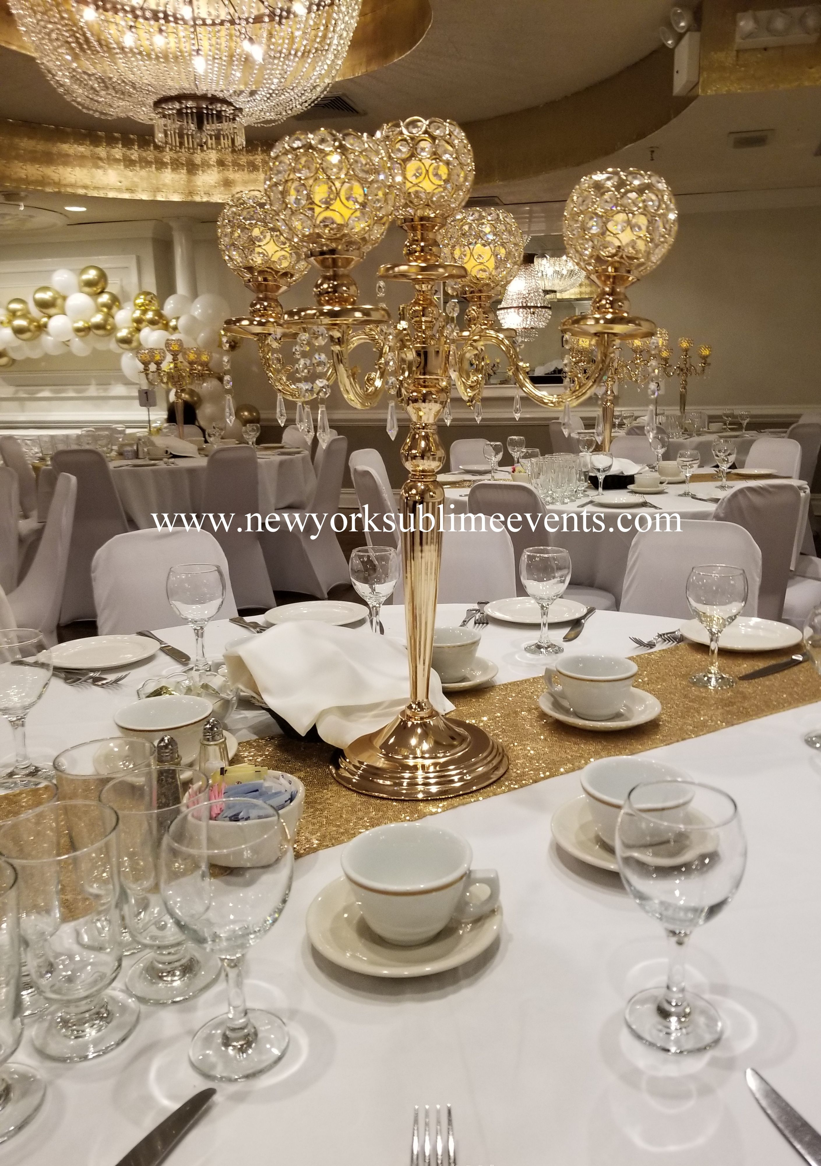 Gold crystal candelabra for rent in 2020 corporate