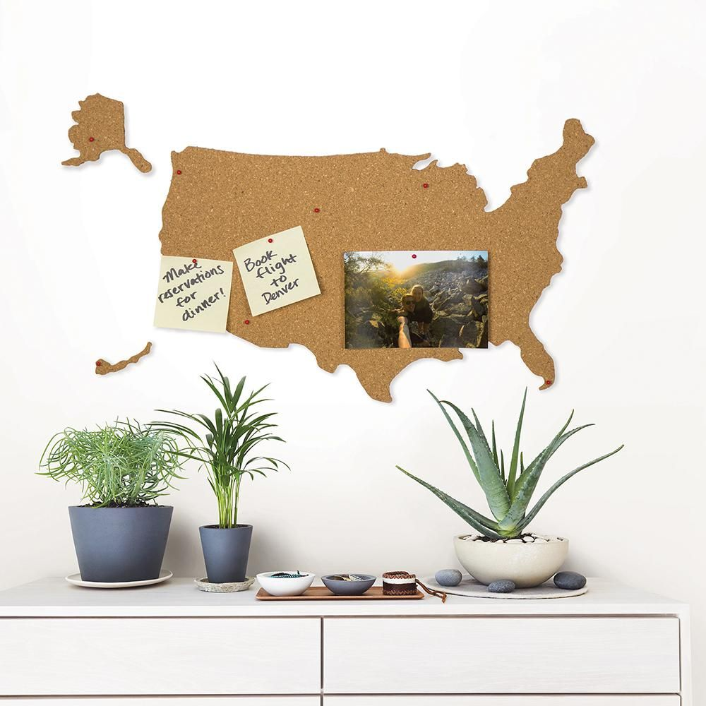 Wall Pops Brown USA Cork Map Pinboard Decal WPE2782 in