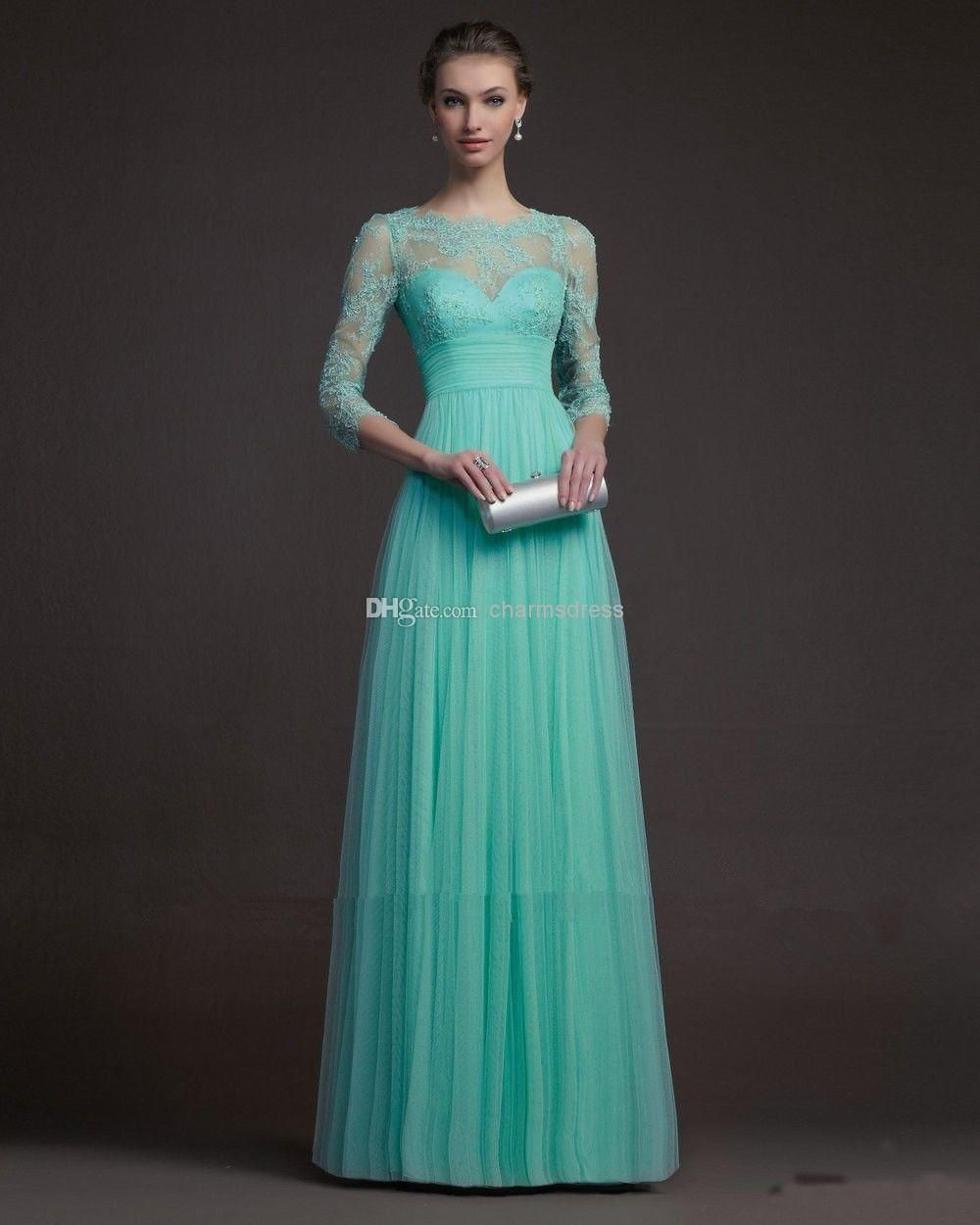 New Arrival Blue Tulle Lace Floor Length A Line Crew 3/4 Sleeves ...