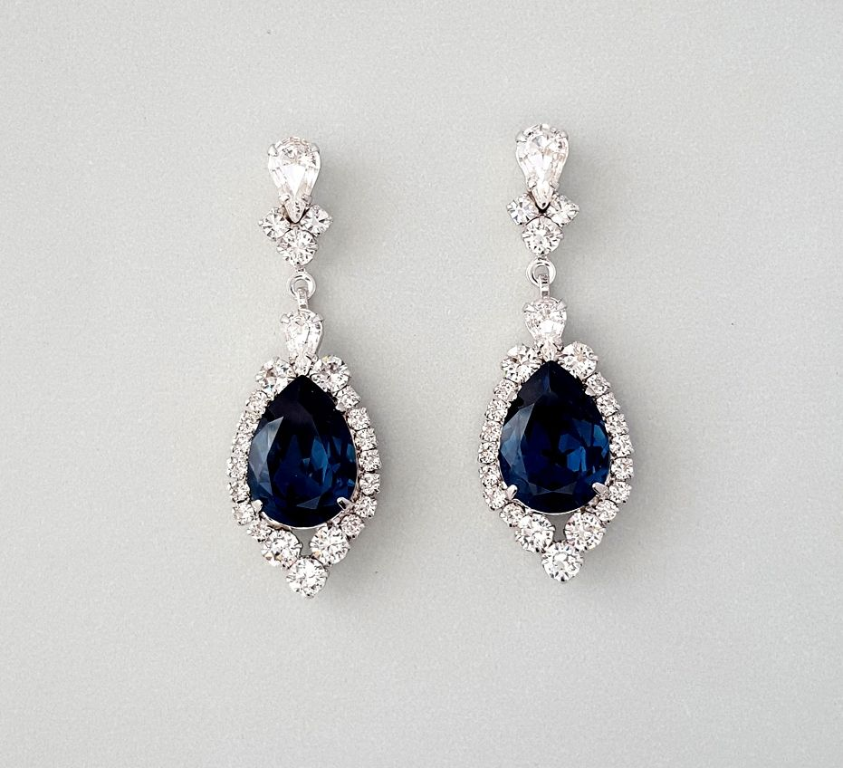 Meredith: Sapphire Blue Teardrop Swarovski Crystal Wedding Earrings