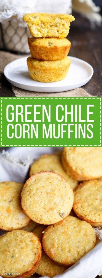 These Green Chile Corn Muffins are the best corn muffins I've ever had! Flavored with green chiles & cheddar cheese, they are perfect served with a bowl of chili or a drizzle of honey.