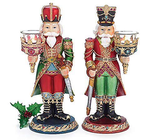 Christmas Holiday Handpainted Resin Nutcrackers Set Of 2 Boxed This Is An Ama Nutcracker Christmas Decorations Nutcracker Candles Gingerbread Christmas Decor