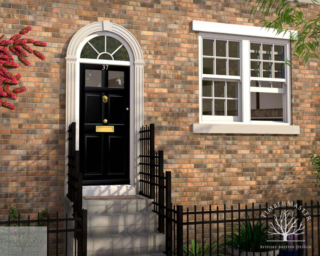 Six Panel Glazed Door Set With Arched Radial Fanlight