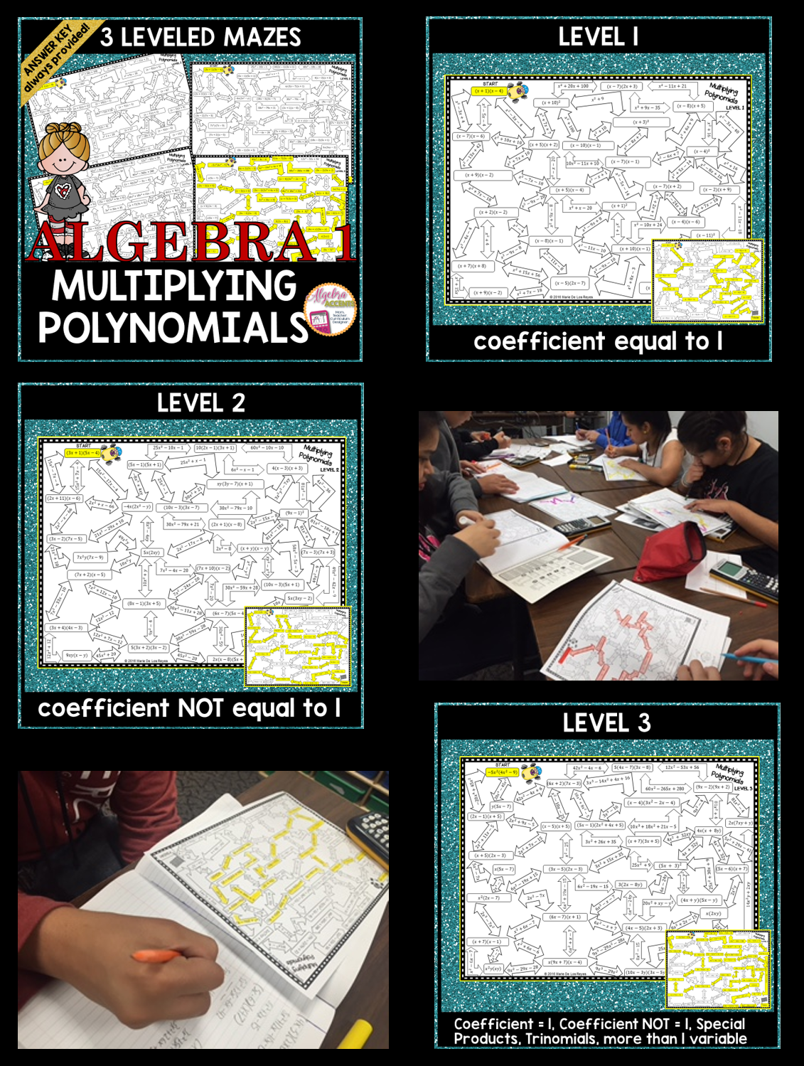 Multiplying Polynomials Maze With Differentiated Levels Students