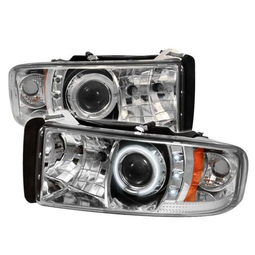Chrome 1994 2001 Dodge Ram 1500 1994 2002 Ram 2500 3500 Osram Led Dual Ccfl Halo Angel Eye Drl Daytime Running Lights Front Projector Headlights Headlamps Replacements Both Driver Passenger Sides Left Right Pair