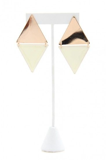 Triangle Plate Diamond Earring - Gold / White