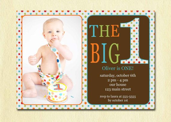 First Birthday Baby Boy Invitation
