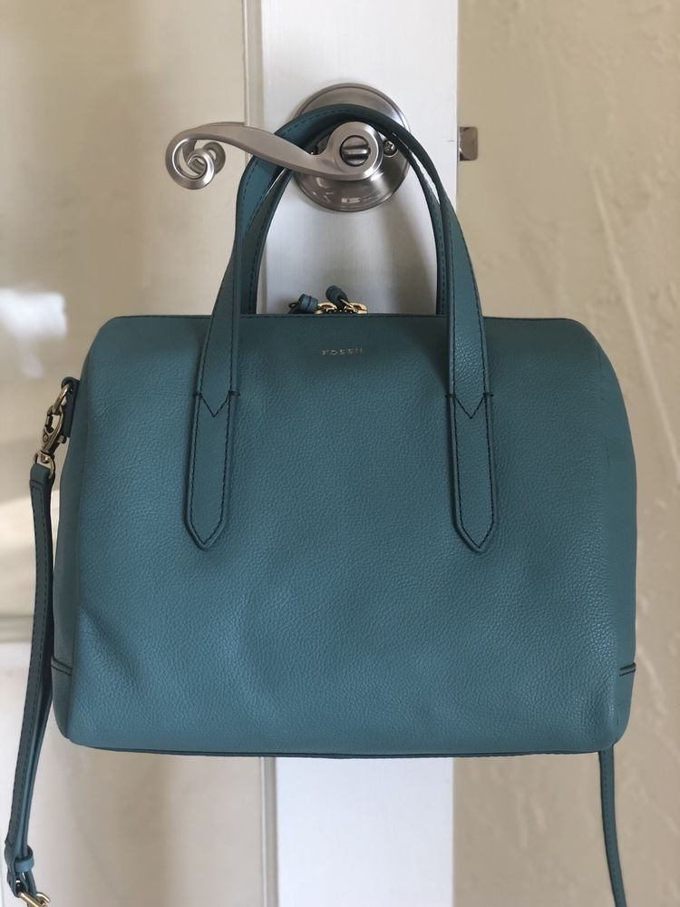 Fossil Sydney Satchel Teal Green Leather 723764565225 Ebay Bags