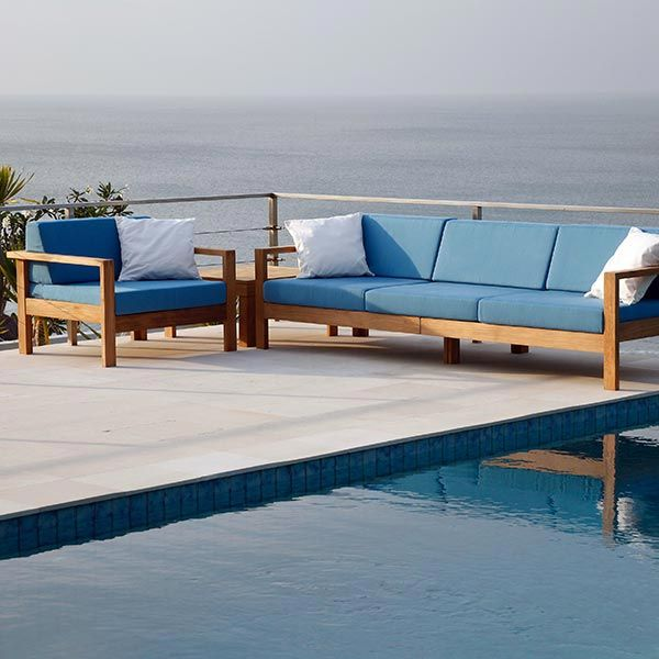 Barlow Tyrie Linear Teak Three Seater Not In Blue Garden Furniture Uk Deep Seating Outside Furniture