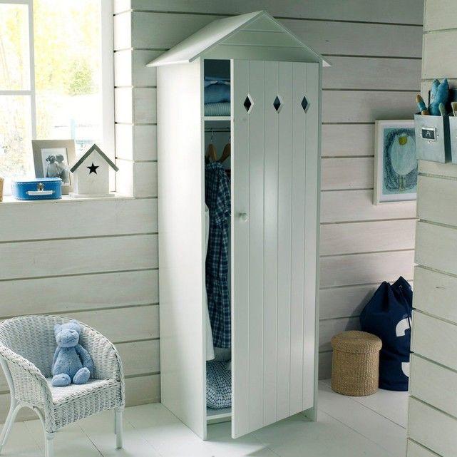 Armoire 1 porte en mdf laqu noa la redoute interieurs en forme de maison cabine de plage - Blanche porte suivi de colis ...