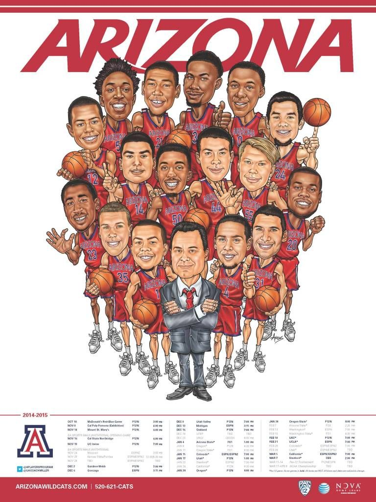 look: arizona's 2014-15 poster is an amazing throwback-style cartoon