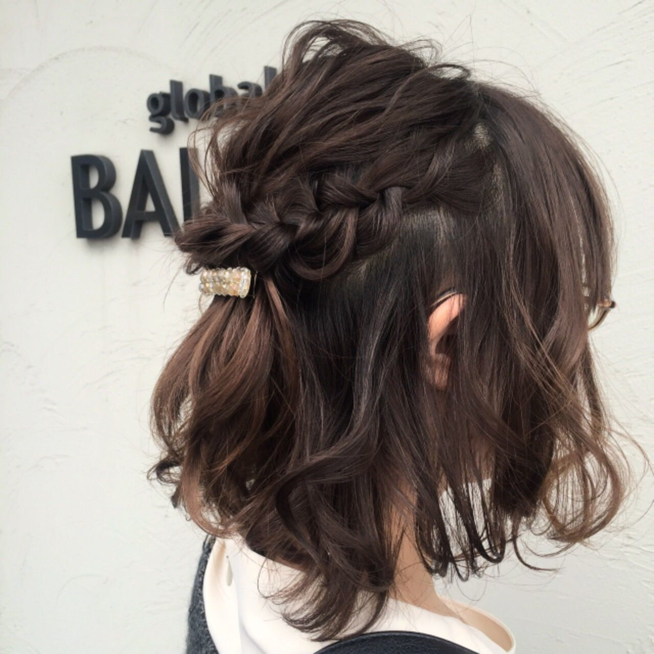 結婚式お呼ばれの髪型 ヘアスタイル ボブのハーフアップなら10分で
