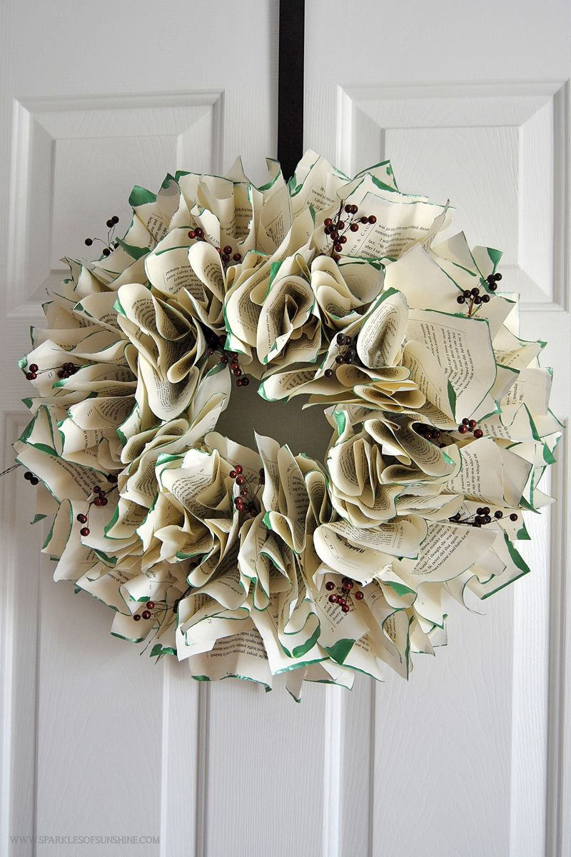 Christmas Book Page Wreath Book page wreath, Christmas
