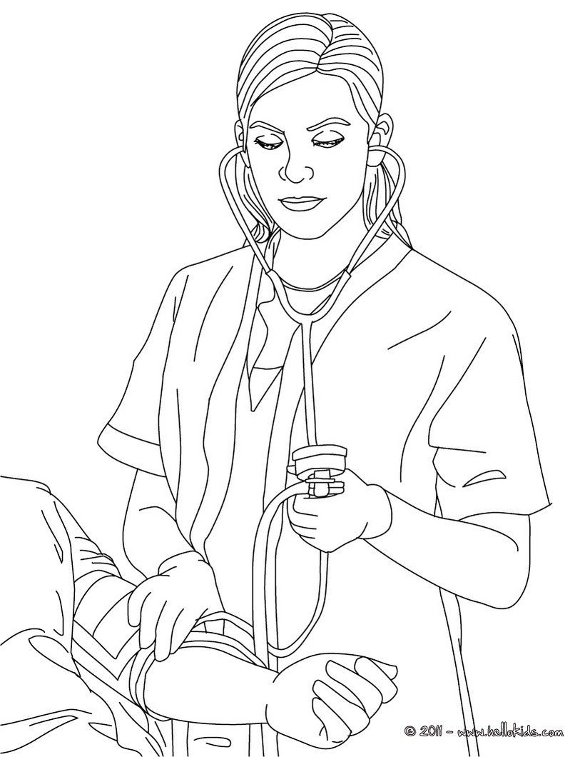Nurse ckecking blood pressure coloring page. Amazing way