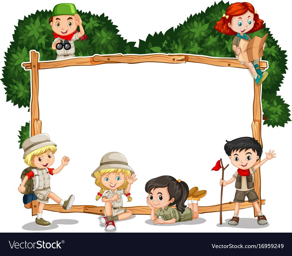 Frame template with kids in safari outfit vector image on