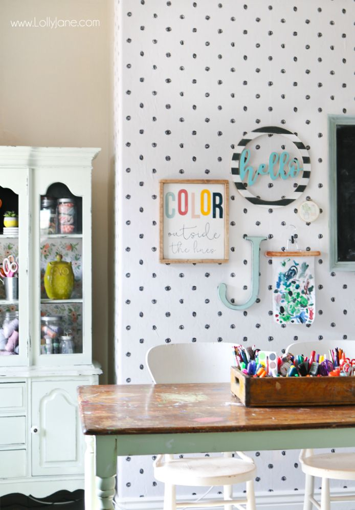 Peel And Stick Wallpaper Craft Room Makeover Lolly Jane Wallpaper Crafts Craft Room Polka Dot Room